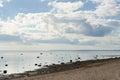 Coast gulf ebb sky clouds horizontal Stock Photos