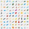 100 coast icons set, isometric 3d style Royalty Free Stock Photo