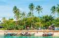 Coast of island with long tail boats thailand phi phi november amazing view the the phi phi don Royalty Free Stock Image