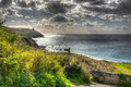 Coast path Praa Sands Cornwall England near Penzance and Mullion in HDR Royalty Free Stock Photo