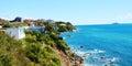 Coast, roofs, rocks, panoramic view on Salivoli, in Livorno, Tuscany, Italy Royalty Free Stock Photo