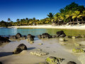 The coast of a sandy beach in tropics mauritius Stock Image