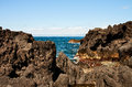 Coast of volcanic island Pico in Atlantic ocean Royalty Free Stock Image