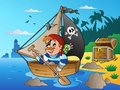 Coast with young cartoon pirate 1 Royalty Free Stock Image