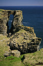 Coastal arch near wick caithness scotland uk this called the brig o trams lies km south of far north east europe the north sea has Royalty Free Stock Image