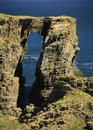 Coastal arch near wick caithness scotland uk this called the brig o trams lies km south of far north east europe the north sea has Stock Image