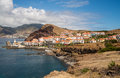 Coastal city on madeira with harbour Royalty Free Stock Photography