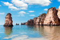 Coastal cliffs ponta da piedade lagos portugal lagosi in Royalty Free Stock Photos