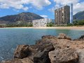 Coastal hawaii rocks mountains beaches emerald waters and condos this is Stock Images