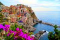 Coastal Italian village with flowers Royalty Free Stock Photo