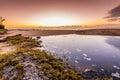 Coastal lake at dawn Royalty Free Stock Photo