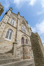 Coastal location around st michaels mount in cornwall england uk. Lookout post in Marizion harbour. White castlated  building next Royalty Free Stock Photo