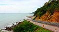 Coastal road unseen thailand this is the longest in the east of thailand chalerm burapha chonlathit chanthaburi province Royalty Free Stock Photo