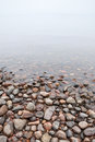 Coastal stones on saimaa lake in foggy morning Royalty Free Stock Photos