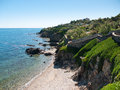 Coastal terraced gardens beautiful landscape with on the french mediterranean coast Royalty Free Stock Photos