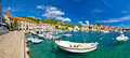 Coastal town of Hvar waterfront panorama Royalty Free Stock Photo