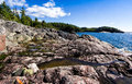 Coastal trail at lake superior along the north shore of Stock Photo