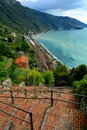 A coastal view of the cinque terra great coastline in greets all that show up Royalty Free Stock Photography