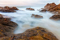 Coastal view long exposure photo of in the north of portugal Royalty Free Stock Image
