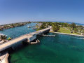 Coastal waterways in south florida aerial view of and bridges near pompano beach Stock Images