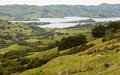 Coastline at Akaroa in New Zealand Royalty Free Stock Photo