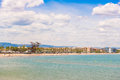 Coastline Costa Dorada, beach in La Pineda, Tarragona, Catalunya, Spain. Copy space for text. Royalty Free Stock Photo