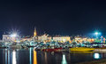 Coastline and marina of night budva old town at Stock Image