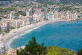 Coastline of mediterranean resort calpe spain with sea and lake Royalty Free Stock Photo