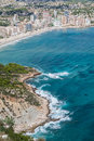 Coastline of mediterranean resort calpe spain with sea and lake europa Stock Photo