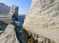 Coastline of milos island eroded rocky near sarakiniko beach greece Royalty Free Stock Photo
