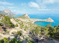 Coastline of novyj svit summer view crimea ukraine reserve capchik cape on background Stock Photo