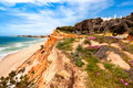 Coastline at ohos de aqua southern portugal near albufeira algarve in spring with hottentot fig carpobrotus edulis flowers in Royalty Free Stock Photography