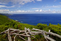 The coastline of pico island azores landscape view from picnic site on Royalty Free Stock Images