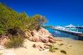 Coastline promenade with pine trees and yachts water at Porto Cervo, Costa Smeralda, Sardinia, Italy Royalty Free Stock Photo