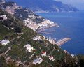 Coastline and sea lone amalti coast italy terraced hillside with the mediterranean amalfi campania europe Stock Photos