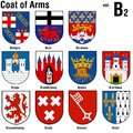 Coat of arms collection colored illustrations vector Stock Images