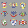 Coat of arms collection, heraldry shields design set Royalty Free Stock Photo