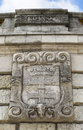 Coat of arms of gdansk on the wall fountain in szczecin poland Stock Photos
