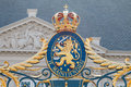 Coat of arms of the kingdom of the netherlands hague royal on gate noordeinde palace in hague Stock Images
