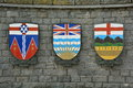 The coat of arms for the provinces of alberta british columbia and yukon territory canada signs symbols canadian territories Stock Image