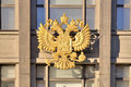 Coat of arms of russia official symbol on the facade building state duma Stock Photography