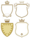 Coat of arms or shields four with crowns in brown and beige on white background Royalty Free Stock Image