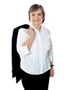Coat executive female her holding over shoulders Zdjęcie Royalty Free