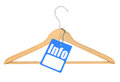 Coat hanger with info tag isolated on white background Stock Image