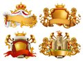 Coats of arms. King and kingdom. Vector emblem set