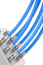 Coaxial cables with tv splitter blue Royalty Free Stock Photography