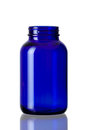 Cobalt blue bottle opened Royalty Free Stock Photo