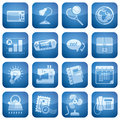 Cobalt Square 2D Icons Set Stock Images