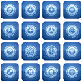 Cobalt Square 2D Icons Set: Abstract Royalty Free Stock Photography