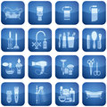 Cobalt Square 2D Icons Set: Bath Royalty Free Stock Image